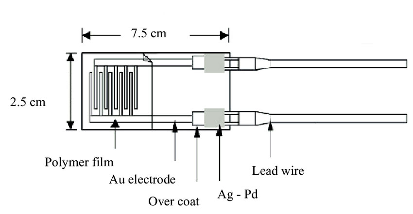 Schematic of a resistive humidity sensor